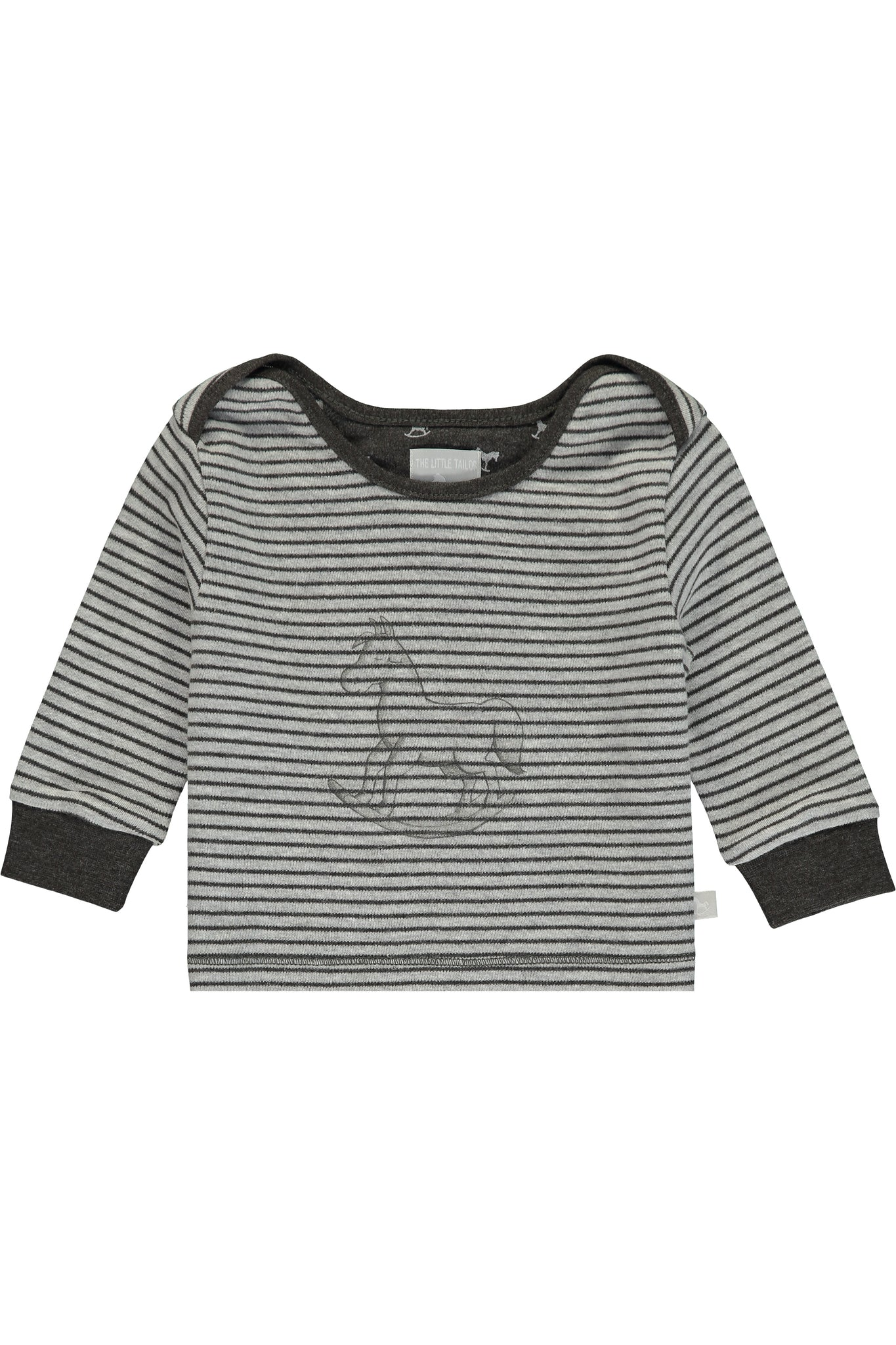Super Soft Jersey Striped Rocking Horse Top - charcoal and grey marl