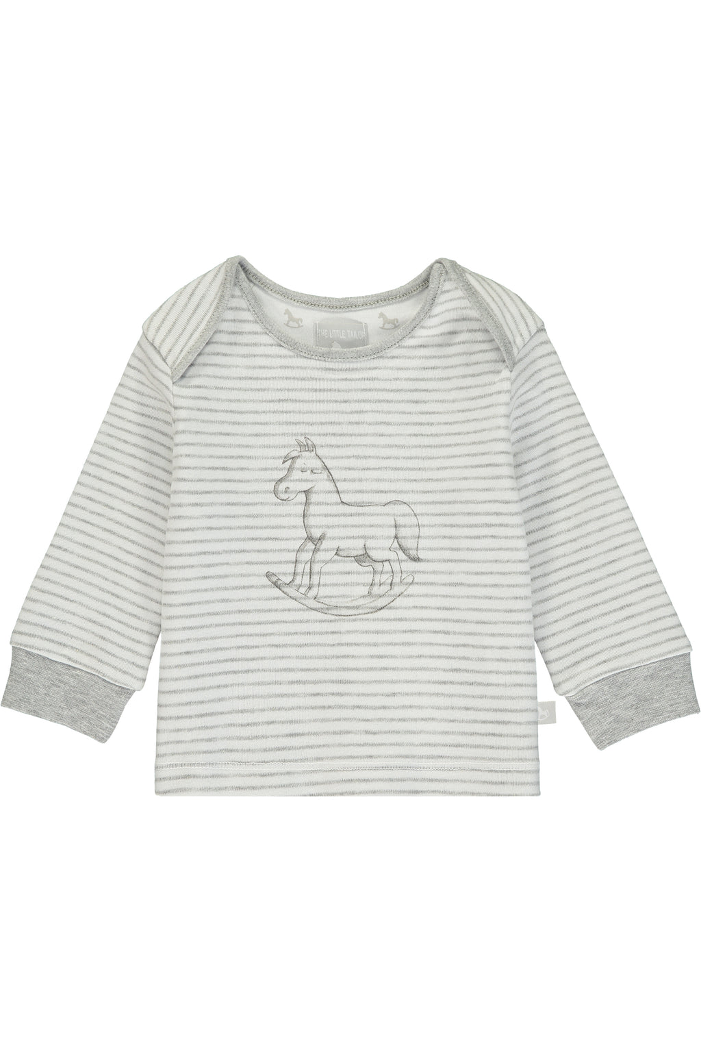 Super Soft Jersey Striped Rocking Horse Top - white