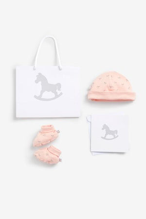 Luxury Bag, Card Hat and Bootie set - pink