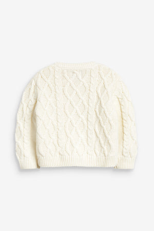 Cream Cable Knit Baby Cardigan