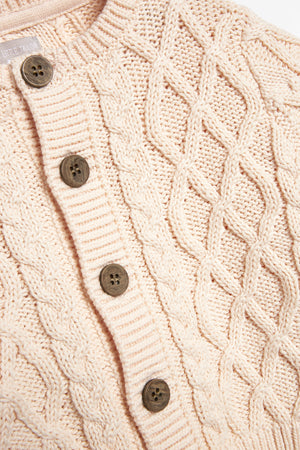 Pink Cable Knit Baby Cardigan