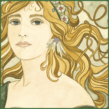 Art Nouveau paintings by Dee Van Houten; Roses, Cala Lilies, Holly and Lilies are the flowers in each painting.