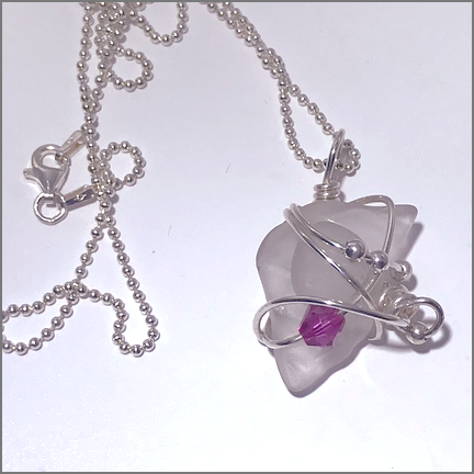 DevaArt Studio Artisan Handmade Jewelry - Genuine Sea Glass - quartz crystal, sterling silver wire wrapped handmade necklace with a dark pink Swarovski crystal.