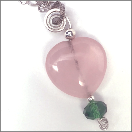 "DevaArt Studio Handmade Jewelry - Crystal Collection; ""Roseheart"" sterling silver spiral, rose quartz heart, light green Swarovski crystal, sterling silver heart chain."