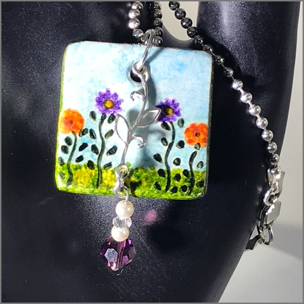 "DevaArt Studio Handmade Jewelry - ""Garden"" is a lovely hand-painted pendant necklace designed with a sterling silver leaf, Swarovski crystals and pearls."