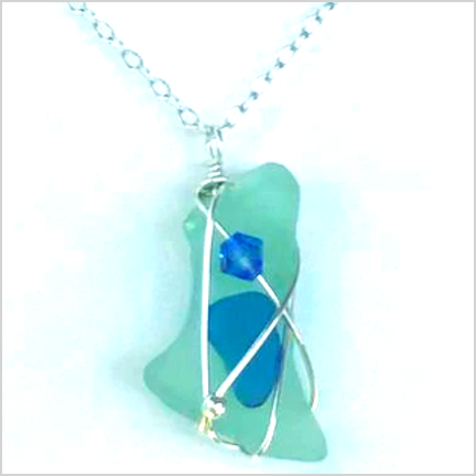"DevaArt Studio Handmade Jewelry - Sea Glass - ""Beach"" - sterling silver wire wrapped pendant, freeform design, green-blue sea glass, sterling silver beads, blue Swarovski crystal, long, irregular shaped light green sea glass, darker blue sea glass on top, one  Swarovski crystal, sterling silver beads."