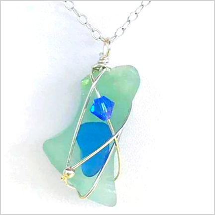 DevaArt Studio Handmade Jewelry - Sea Glass Collection - AUGUST; sterling silver wire wrapped pendant, freeform, green-blue genuine sea glass, sterling silver beads, blue Swarovski crystal.