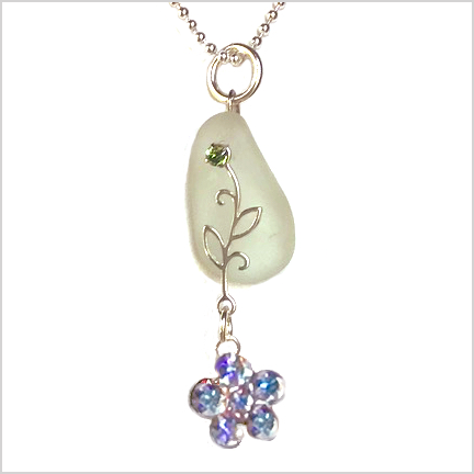 DevaArt Studio Handmade Jewelry - Sea Glass Collection-BELLA; genuine sea glass with sterling silver and Swarovski crystals.