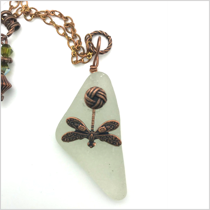 DevaArt Studio Handmade Fine Art Jewelry - Sea Glass Collection - DRAGONFLY; genuine sea glass, antique bead dangles, raw copper oval chain, round copper charm, green and amber Swarovski crystals.