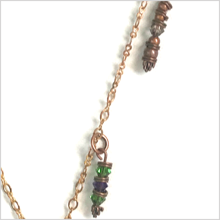 DevaArt Studio Handmade Fine Art Jewelry - Sea Glass Collection - FORREST;  unique necklace, </span>ocean green genuine sea glass, antique beads, Swarovski crystals, raw copper oval chain, copper round disk.