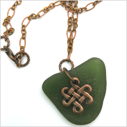 "DevaArt Studio Handmade Fine Art Jewelry - Sea Glass Collection - ""Irish"" - genuine sea glass, dark ocean green, copper Irish knot disk, raw copper oval chain."