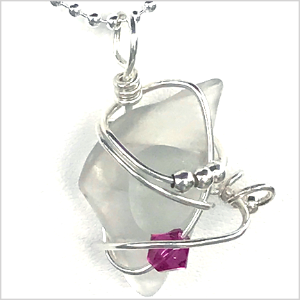 DevaArt Studio Handmade Jewelry - Sea Glass Collection - FROSTINE; quartz crystal, sterling silver wire wrapped handmade necklace with a dark pink Swarovski crystal.