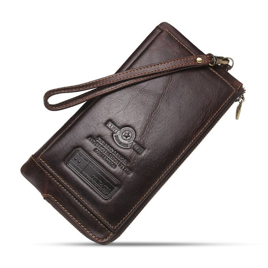 2018 Men Wallet Clutch Genuine Leather Brand Rfid Wallet Male Organizer  Cell Phone Clutch Bag Long fe99fca0947e