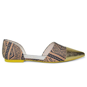 Ethnic Print Flat - Big Size Women Shoes | Lonia