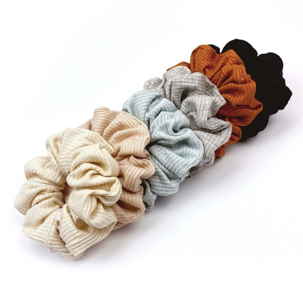 French Ribbed Black Scrunchie