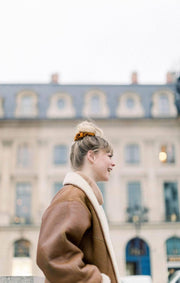 French Ribbed Caramel Scrunchie - petite