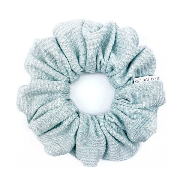 French Ribbed Mint Blue Scrunchie