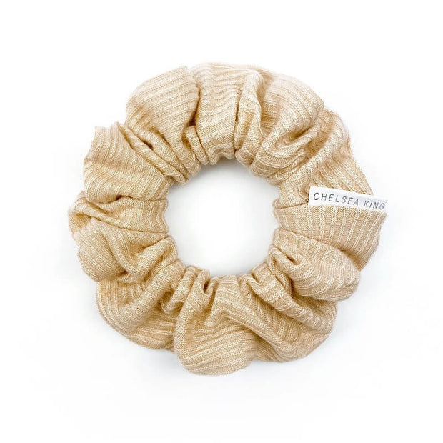 French Ribbed Nude Blush Scrunchie - petite