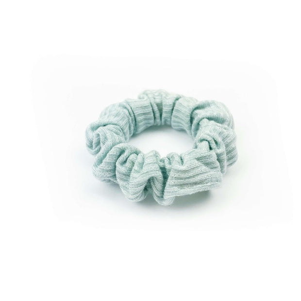 French Ribbed Mint Blue Scrunchie - thin