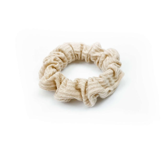 French Ribbed Nude Blush Scrunchie - thin