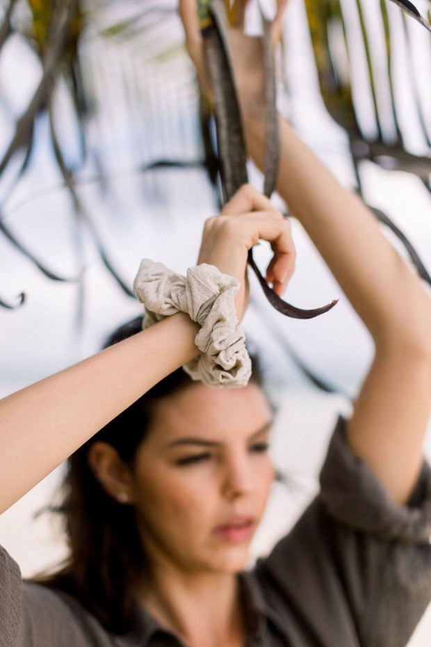 Natural Linen Sand Scrunchie
