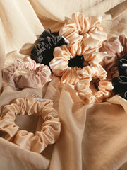 Eco Satin Sleep Black Scrunchie - petite