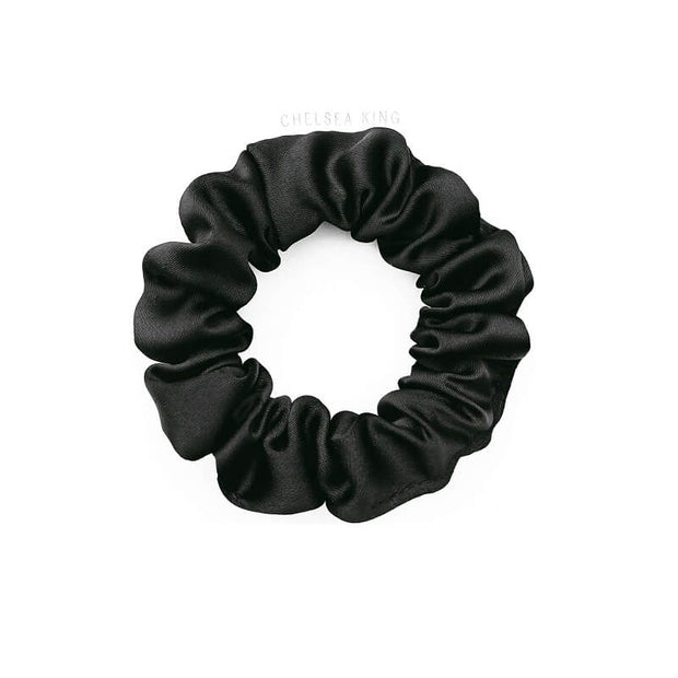 Eco Satin Sleep Black Scrunchie - thin