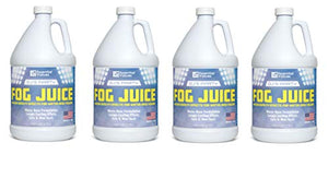 Essential Values DJ's Party Fog Juice (4 PACK of 1 Gallon) – Produces Long Lasting Medium Fog for Water Based Foggers