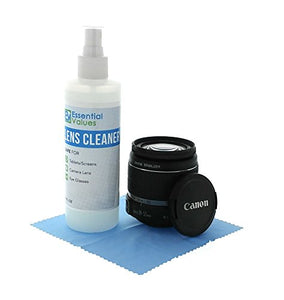 Lens Cleaner, 8oz w/ Microfiber Cloth For Optical Lens and Canon, Sony & Nikon DSLR Camera Lens and LCD Screens By Essential Values