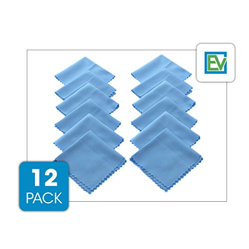 Microfiber Cleaning Cloth (12 Pack) - For Glasses, Camera Lens, Tablets & Phone Screens By Essential Values (12 Pack)