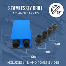 "Pocket Hole Jig, Dual Pocket 15° Bit Angle With Multi-Size Bores: 6mm, 8mm, 10mm By Essential Values (Pocket Jig & 3/8"" Bit)"
