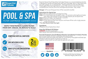 Essential Values Spa Cartridge Cleaner | Pool Cartridge Cleaner (3 Pack, 32oz / 1 Quart / 6 Uses), Made in USA Filter Cleaning Solution
