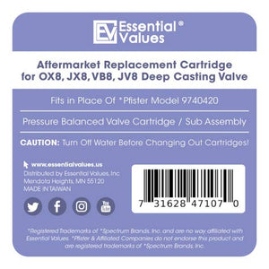 Essential Values Pressure Balanced Cartridge #9740420 - Aftermarket Replacement Sub Assembly for Pfister 0X8/JX8/VB8/JV8 Deep Casting Valves