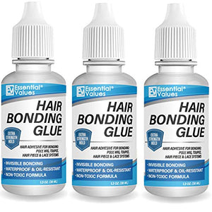3 PACK Essential Values Hair Glue Bonding Adhesive (1.30 fl oz / 38mL) – Invisible Glue with Moisture Control Technology – Perfect for Poly & Lace Hairpieces, Wigs, Toupee Systems