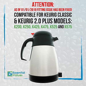 Essential Values Keurig 2.0 Thermal Carafe for Plus Models, 1L / 32oz Capacity (4-5 Cups) Stainless Steel