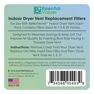 Essential Values 18 Pack Compatible Replacement Filters for Bettervent Indoor Dryer Vent
