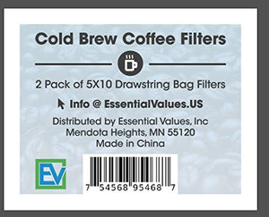 Cold Brew Filters (2 Pack), 5x10 Reusable Coffee Filter Bag For Self Brewing With Mason Jars, Carafes, Pitchers or Toddy Brew Systems By Essential Values