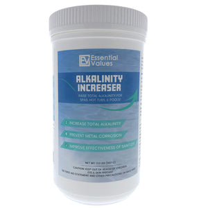 Essential Values Alkalinity Increaser - Sodium Bicarbonate is Perfect for Balancing & Maintaining All Hot Tubs, Spas, & Pools - Prevent Metal Corrosion and Improve Effectiveness of Sanitizer, Proudly