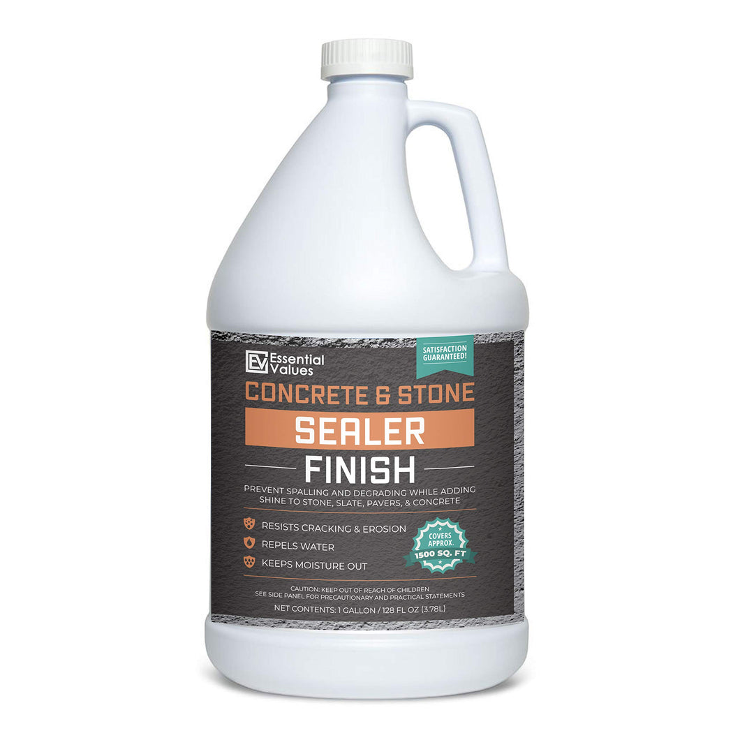 Essential Values 1 Gallon Concrete Sealer (Covers 1500 Sq Ft) - an Excellent Clear & Wet Sealant Designed for Indoor/Outdoor Stone Surfaces - Perfect for Concrete | Driveways | Garages | Basements