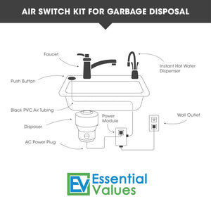 Single Outlet - Chrome Garbage Disposal Air Switch, Sink Top/Counter Top Waste Disposal On/Off Switch For Garbage Disposals With No Wall Switch Access