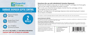 Essential Values 2X Cartridge Refill Septic Solution for InSinkErator Septic Assist Bio Charge Evolution Models