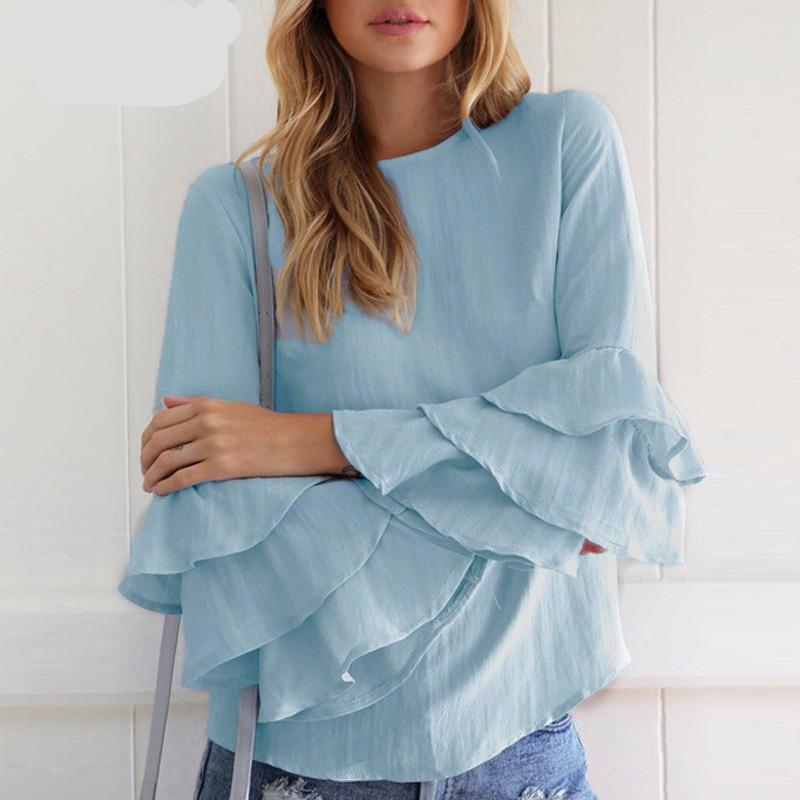 3/4 Ruffle Sleeve Solid Blouse (Multiple Colors)