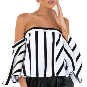 Striped Casual Off the Shoulder Short Sleeve Crop Top