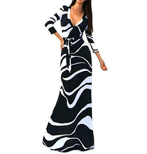 Striped V Neck 3/4 Sleeve High Waist Black Long Maxi Dress with Sashes