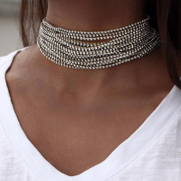 Multiple Layers Rhinestone Crystal Choker Necklace