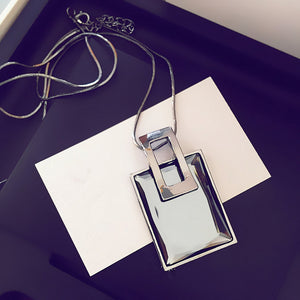 Atmosphere Square Crystal Sweater Chain Necklace