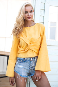Cross Flare Sleeve Blouse (Yellow/White)