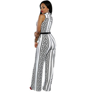 Geometric Print Belted Jumpsuit Wide Leg (White/Black)