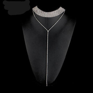 Rhinestone Double-Strand Layered Long Necklace (Silver/Gold)