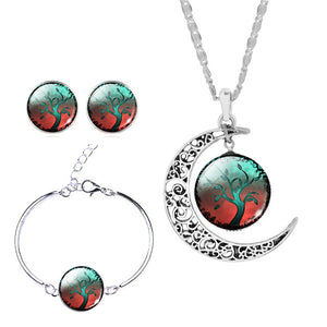 Moon Pendant Jewelry Set (Multiple Colors)